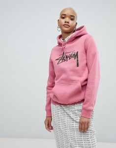 Oversize-худи с логотипом на груди Stussy - Розовый