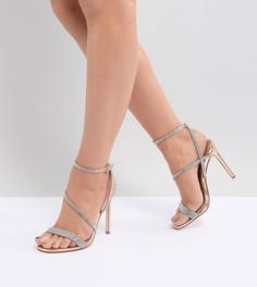 Босоножки для широкой стопы на каблуке с отделкой ASOS DESIGN Hartly - Золотой