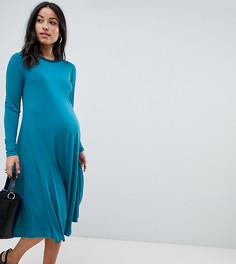 Свободное платье миди из крепа с длинным рукавом эксклюзивно для ASOS DESIGN Maternity - Зеленый