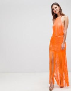 Платье макси с заниженной талией и бахромой ASOS DESIGN - Оранжевый