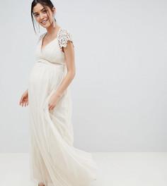 Платье макси с кружевом на спине Little Mistress Maternity - Кремовый