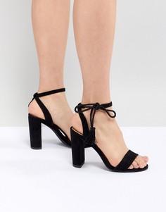Босоножки на блочном каблуке с завязкой вокруг щиколотки New Look - Черный