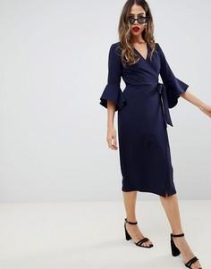 Платье миди с запахом и расклешенными рукавами ASOS DESIGN - Темно-синий