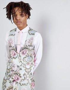 Жаккардовый приталенный жилет с пастельным цветочным рисунком ASOS EDITION Wedding - Синий