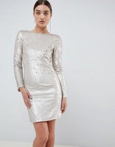 Двухцветное облегающее платье мини с отделкой пайетками Club L - Золотой