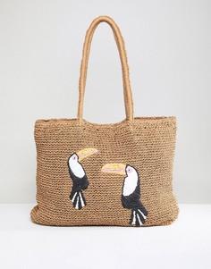 Пляжная сумка-тоут с принтом тукана Chateau - Бежевый