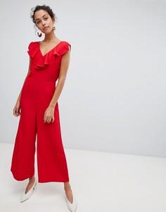 Комбинезон с оборкой и широкими штанинами Vila - Красный