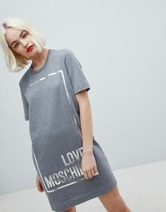 Платье-футболка с прямоугольником и логотипом Love Moschino - Серый