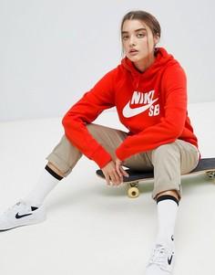 Красный худи с логотипом Nike SB - Красный