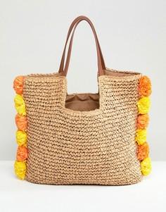 Соломенная пляжная сумка с помпонами Chateau - Бежевый