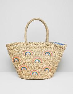 Пляжная соломенная сумка с разноцветным принтом Chateau - Бежевый