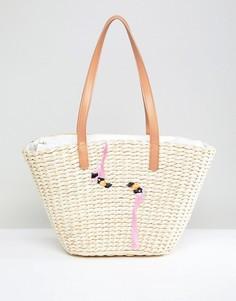 Соломенная пляжная сумка с вышивкой фламинго Chateau - Бежевый