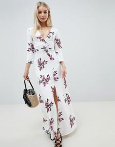 Платье макси с длинными рукавами и цветочным принтом Lasula - Белый