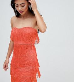 Платье мини с кружевной вставкой и бахромой ASOS DESIGN Petite - Розовый