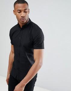 Эластичная хлопковая рубашка с короткими рукавами Only & Sons - Черный