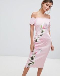 Облегающее платье с цветочным принтом и фигурными краями Ted Baker - Розовый
