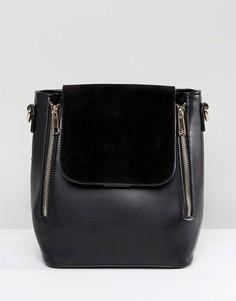 Минималистский рюкзак с двойной молнией Liquorish - Черный
