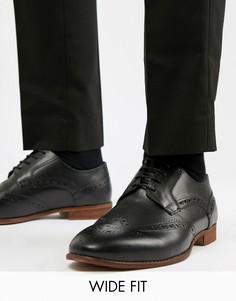 Черные кожаные броги для широкой стопы KG By Kurt Geiger - Черный