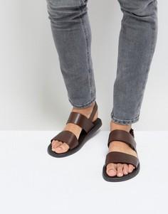 Коричневые кожаные сандалии с двумя ремешками Silver Street - Коричневый