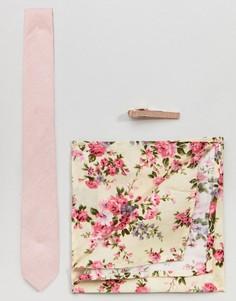 Комплект с узким галстуком, платком для нагрудного кармана и зажимом для галстука Peter Werth - Розовый