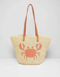 Пляжная соломенная сумка с принтом Chateau - Бежевый