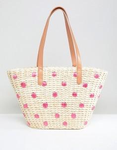 Соломенная пляжная сумка в вышитый горошек Chateau - Бежевый