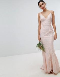 Кружевное платье макси Chi Chi London Bridal - Белый