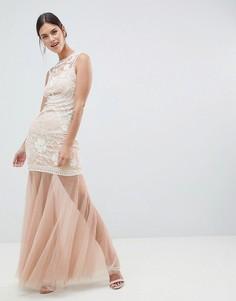 Платье макси с пайетками и сетчатой юбкой C By Cubic - Золотой