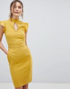 Платье с короткими рукавами и вырезом капелькой Paper Dolls - Желтый