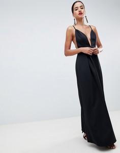 29a3b213669 Платье макси для выпускного с глубоким вырезом и открытой спиной ASOS  DESIGN - Черный