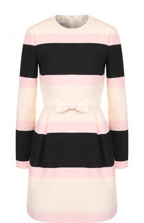Приталенное мини-платье из смеси шерсти и шелка с поясом Valentino