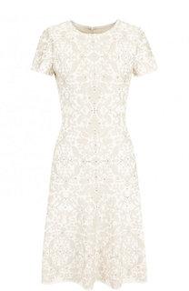 Приталенное мини-платье с декоративной отделкой St. John