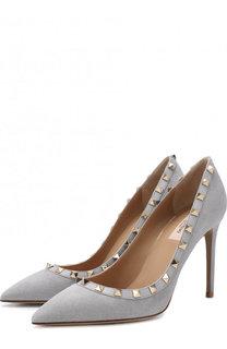 Замшевые туфли Valentino Garavani Rockstud на шпильке Valentino