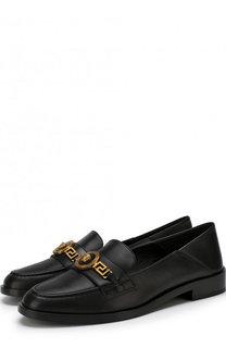 Кожаные лоферы с фигурной пряжкой Versace