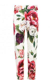 Укороченные брюки из смеси хлопка и шелка с принтом Dolce & Gabbana