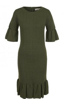 Однотонное мини-платье с круглым вырезом и оборками MICHAEL Michael Kors