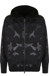 Куртка на молнии с меховой подстежкой и капюшоном Valentino