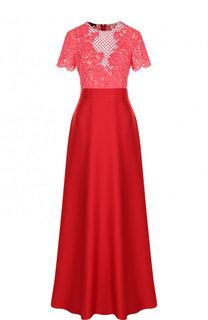Приталенное платье-макси и декоративной отделкой Escada
