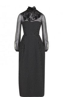 Платье-макси из смеси шерсти и шелка с воротником аскот Valentino