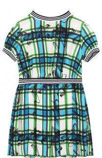 Шелковое мини-платье с защипами и эластичной вставкой на поясе Burberry