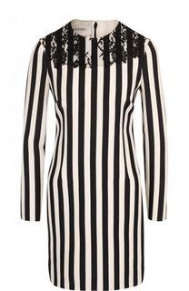 Приталенное мини-платье из смеси шерсти и шелка в полоску Valentino