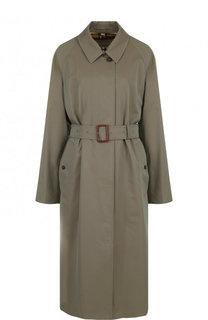 Хлопковое пальто прямого кроя с поясом Burberry