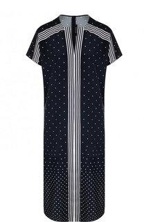 Шелковое платье-рубашка с V-образным вырезом и принтом St. John