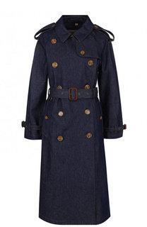 Джинсовое пальто с поясом Burberry