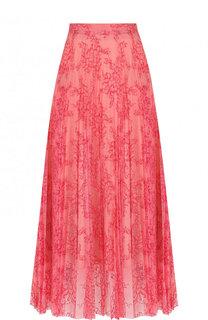 Плиссированная юбка-миди с кружевной отделкой Burberry