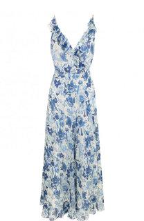 Шелковое платье-миди с оборками и принтом Polo Ralph Lauren