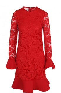 Хлопковое кружевное мини-платье с оборкой Valentino