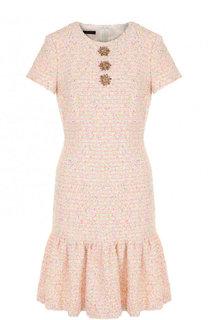 Приталенное мини-платье фактурной вязки с декорированной отделкой Escada