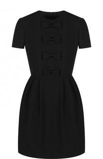 Однотонное мини-платье из смеси шерсти и шелка с бантами Valentino