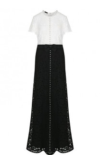 Кружевное платье-макси с декорированной отделкой Escada